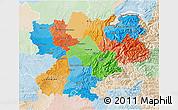 Political 3D Map of Rhône-Alpes, lighten