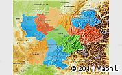 Political 3D Map of Rhône-Alpes, physical outside