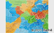 Political 3D Map of Rhône-Alpes, political shades outside