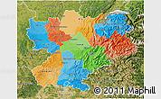 Political 3D Map of Rhône-Alpes, satellite outside