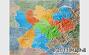 Political 3D Map of Rhône-Alpes, semi-desaturated