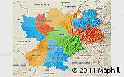 Political 3D Map of Rhône-Alpes, shaded relief outside