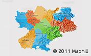 Political 3D Map of Rhône-Alpes, single color outside
