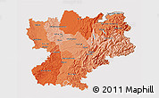 Political Shades 3D Map of Rhône-Alpes, cropped outside
