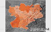 Political Shades 3D Map of Rhône-Alpes, darken, desaturated