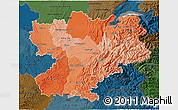Political Shades 3D Map of Rhône-Alpes, darken