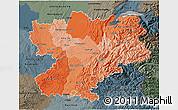 Political Shades 3D Map of Rhône-Alpes, darken, semi-desaturated