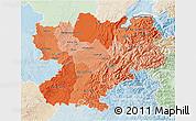 Political Shades 3D Map of Rhône-Alpes, lighten