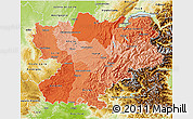 Political Shades 3D Map of Rhône-Alpes, physical outside