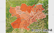 Political Shades 3D Map of Rhône-Alpes, satellite outside