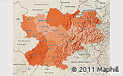 Political Shades 3D Map of Rhône-Alpes, shaded relief outside
