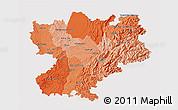 Political Shades 3D Map of Rhône-Alpes, single color outside