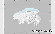 Gray Map of Thonon-les-Bains, single color outside