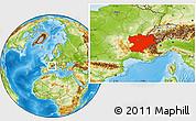Physical Location Map of Rhône-Alpes