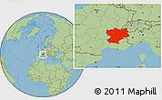 Savanna Style Location Map of Rhône-Alpes