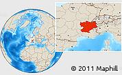 Shaded Relief Location Map of Rhône-Alpes