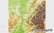Physical Map of Rhône-Alpes