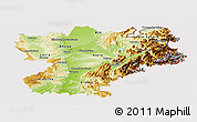 Physical Panoramic Map of Rhône-Alpes, cropped outside