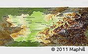 Physical Panoramic Map of Rhône-Alpes, darken