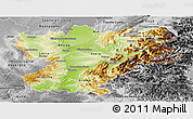 Physical Panoramic Map of Rhône-Alpes, desaturated