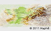 Physical Panoramic Map of Rhône-Alpes, lighten