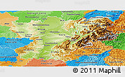 Physical Panoramic Map of Rhône-Alpes, political outside