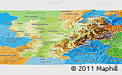 Physical Panoramic Map of Rhône-Alpes, political shades outside