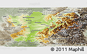 Physical Panoramic Map of Rhône-Alpes, semi-desaturated