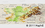 Physical Panoramic Map of Rhône-Alpes, shaded relief outside