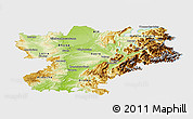 Physical Panoramic Map of Rhône-Alpes, single color outside