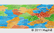 Political Panoramic Map of Rhône-Alpes