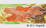 Political Shades Panoramic Map of Rhône-Alpes, physical outside