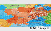 Political Shades Panoramic Map of Rhône-Alpes