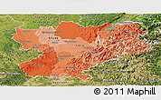 Political Shades Panoramic Map of Rhône-Alpes, satellite outside