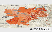Political Shades Panoramic Map of Rhône-Alpes, shaded relief outside