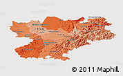 Political Shades Panoramic Map of Rhône-Alpes, single color outside