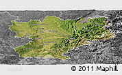 Satellite Panoramic Map of Rhône-Alpes, desaturated