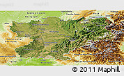 Satellite Panoramic Map of Rhône-Alpes, physical outside