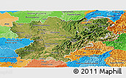 Satellite Panoramic Map of Rhône-Alpes, political outside