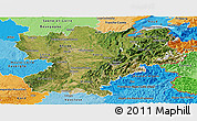 Satellite Panoramic Map of Rhône-Alpes, political shades outside