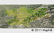 Satellite Panoramic Map of Rhône-Alpes, semi-desaturated