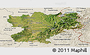 Satellite Panoramic Map of Rhône-Alpes, shaded relief outside