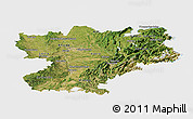 Satellite Panoramic Map of Rhône-Alpes, single color outside