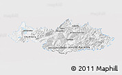 Silver Style Panoramic Map of Savoie, single color outside