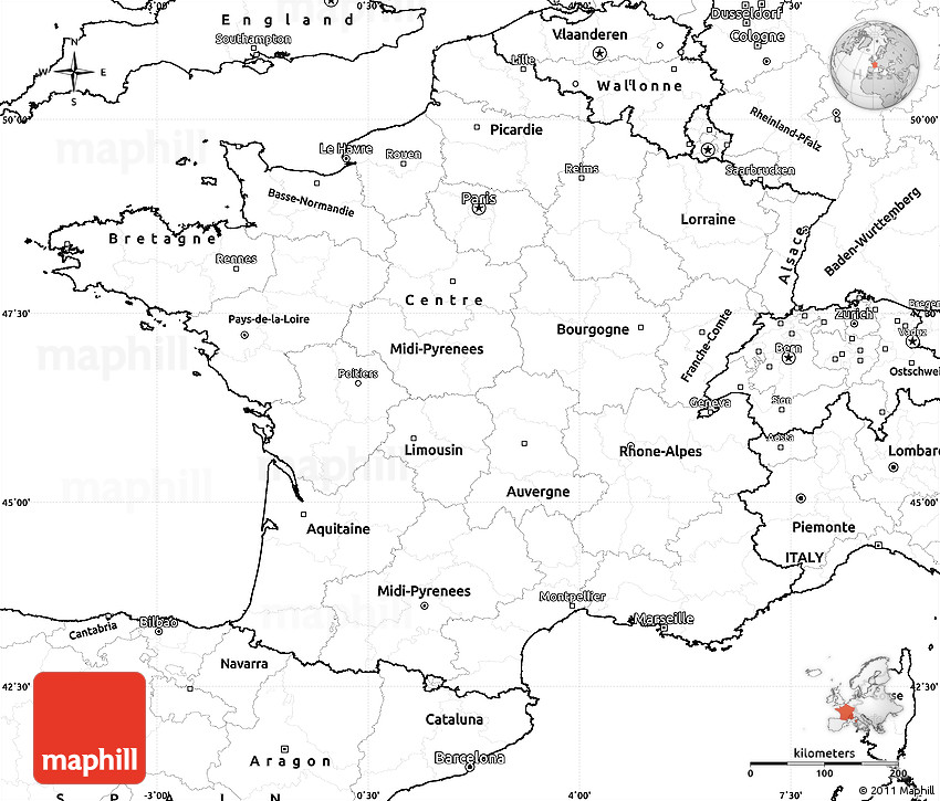 Blank Simple Map of France on
