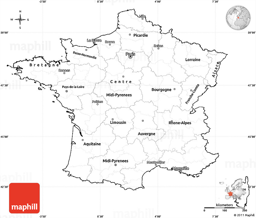 Blank Simple Map Of France Cropped Outside - France map images blank