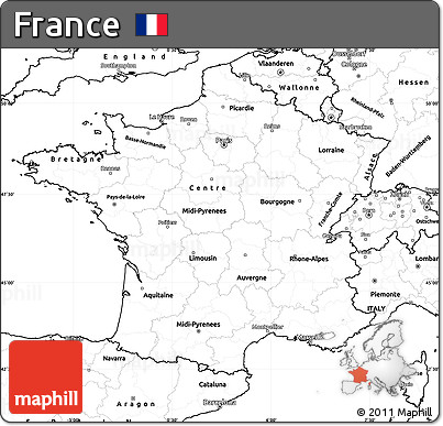 Free Blank Simple Map Of France - France map images blank