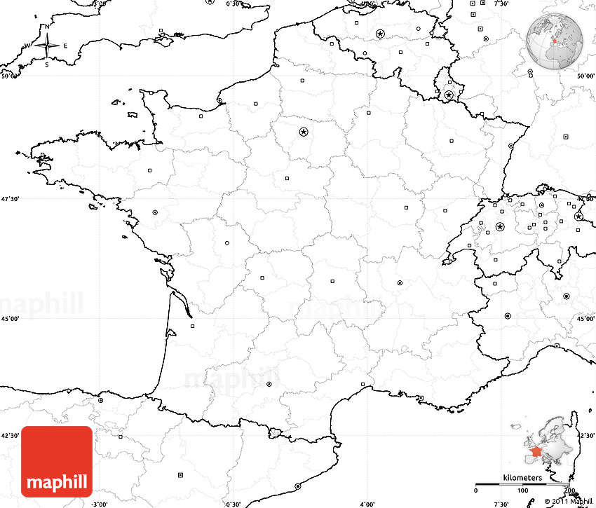 Blank Simple Map of France no labels