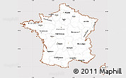Classic Style Simple Map of France, cropped outside
