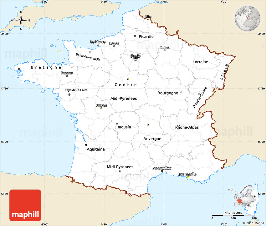 classic style simple map of france single color outside